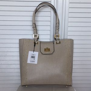 Calvin Klein Clementine Studded Leather Tote Tan